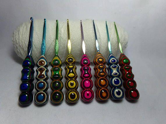 8 Handmade Too Shay Crochet Hook Handle with Boye Hook Size :