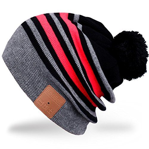 Cheap Rotibox Washable Bluetooth Music Beanie Hat Pom Pom with Wireless Stereo Over Ear Headphones Headsets Earphones Speaker Hands Free for Iphone Ipad Samsung Android Cell PhoneChristmas Gifts - Gray/Red Best Selling