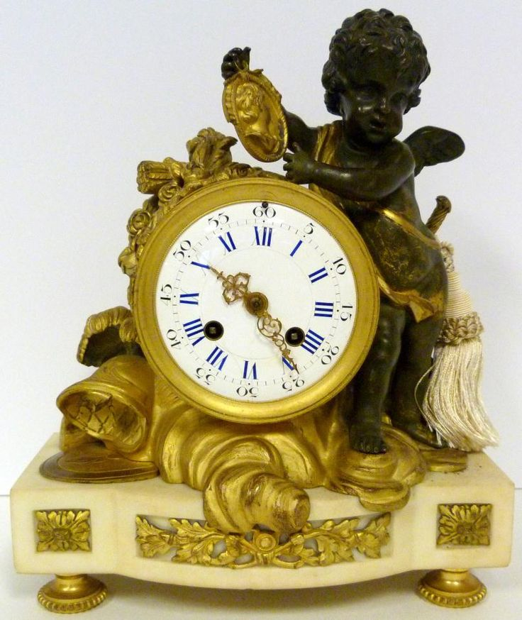 Antique French Bronze And Marble Mantle Clock Time