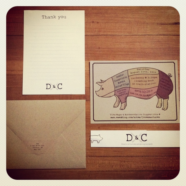 Our pig roast wedding invites. Designed by Adam Dixon. Already has the D+C!