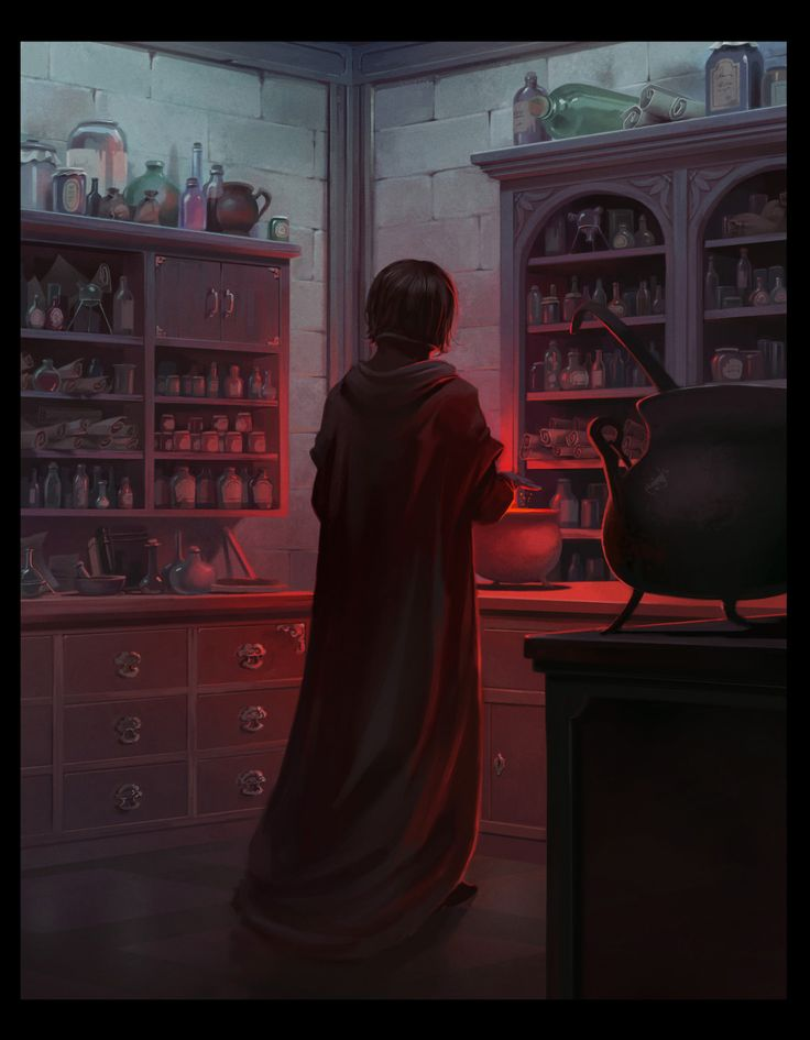 Snape in his potions lab.