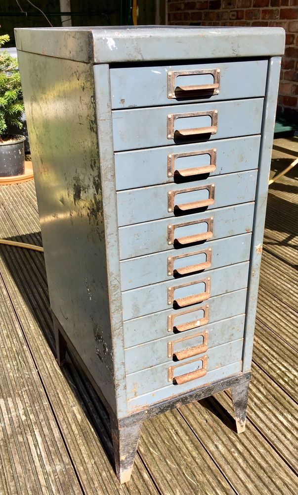 Vintage Metal Filing Cabinet with 10 Drawers Size Approximately: Height 740mm Depth 405mm Width 280mm All Drawers open. Has seen better days as you can see from the photos. Any questions feel free to message me. Open to offers. For Collection Only. Thanks for looking.   eBay!