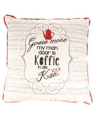 Invest in a classic with the Liedjie Man Cushion by Fabricor. This quirky scatter cushion measures 45 x 45 cm, is mostly cream in colour, and showcases a printed graphic with the lyrics to a renowned Afrikaans nursery rhyme. Perfect for your bedroom, it promises to give your space a fun touch.
