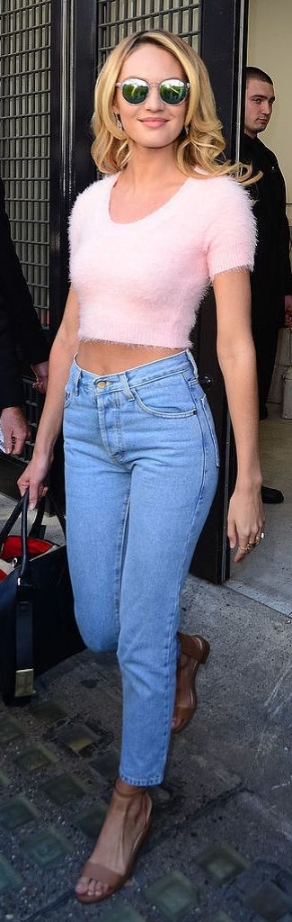 '90s throwback style inspiration: Candice Swanepoel wearing a crop top mini sweater