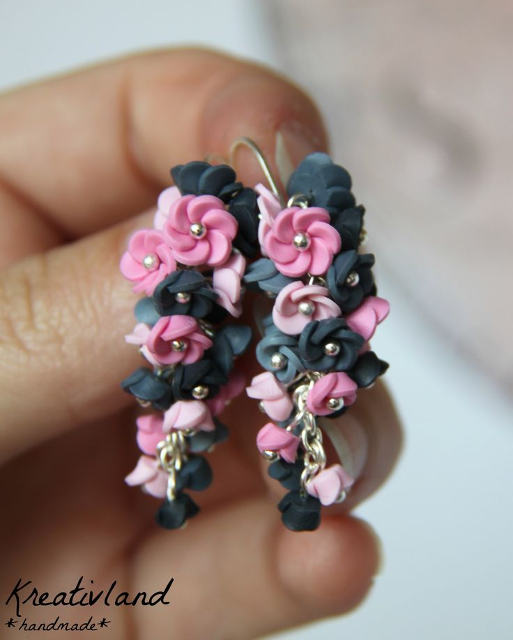 Pinkish blues - handcrafted from polymer clay (own design)