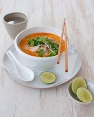 Chicken  Broccolini Laksa  Ingredients12WBT Thai Laksa  1g Olive oil spray  1 tablespoon Laksa paste  2 cups Chicken stock  1 can Light coconut flavoured evaporated milk  200g Raw, lean chicken breast, thinly sliced  1 bunch Broccolini  120g Bean shoot  1/4 bunch Mint  1/4 bunch Fresh coriander  1 medium Lime, cut into wedges to serve  #12wbt #healthy food #recipes