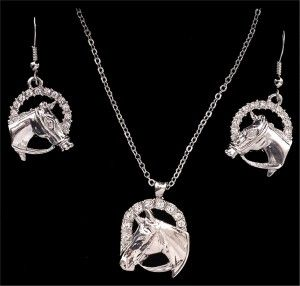 Silver Strike Crystal Horse Head Earring & Necklace Set