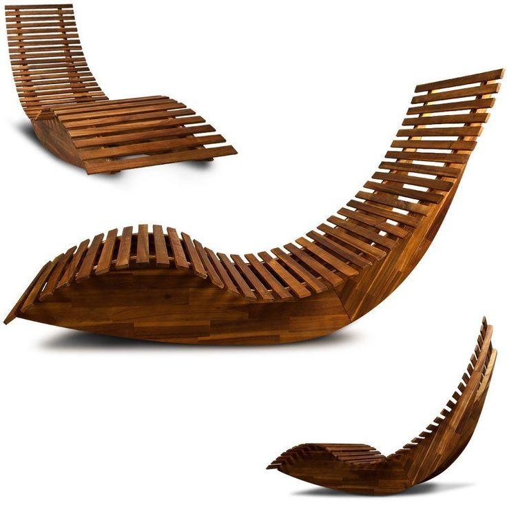 Sonnenliege Gartenliege Holz Wippfunktion Saunaliege Relaxliege Holzliege Liege