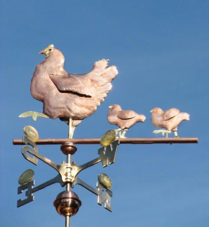 Hen and Chicks Weather Vane  (Chicken Weathervane) by West Coast Weather Vanes.  This handcrafted hen and chicks weathervane was custom made by applying optional gold leaf to the hen's beak, comb, and legs as well as the chicks' beaks and legs. Four golden eggs sit atop the directionals with their four children's names attached.