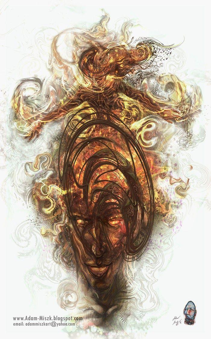 'Flame of desire' by Adam Miszk #visionaryart #art #digital #contemporaryart #dmt #illustration #fineart #digitalart #painting #horrorart #psychedelic