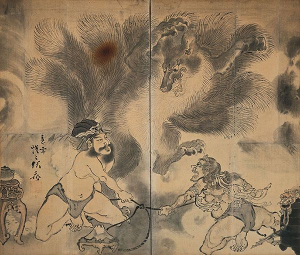 "Kawanabe Kyosai ""Tale of the Nine Tailed Fox, Folding Screen"" 1870, Culture: Japan Collection of the Kyosai Kawanabe Memorial Museum 
