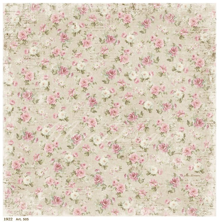 Little Pink Roses On Very Light Grey Background