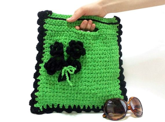 Handmade clutch, Purse, ON SALE, Handmade tote, Crochet Floral Handbag, Emerald Bag, Green, Crochet tote bag, Netbook, Phone, Macbook