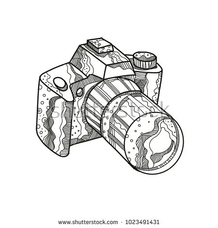 Doodle art illustration of a DSLR camera, digital SLR or digital single-lens reflex camera done in mandala style.  #dslr #doodleart #illustration