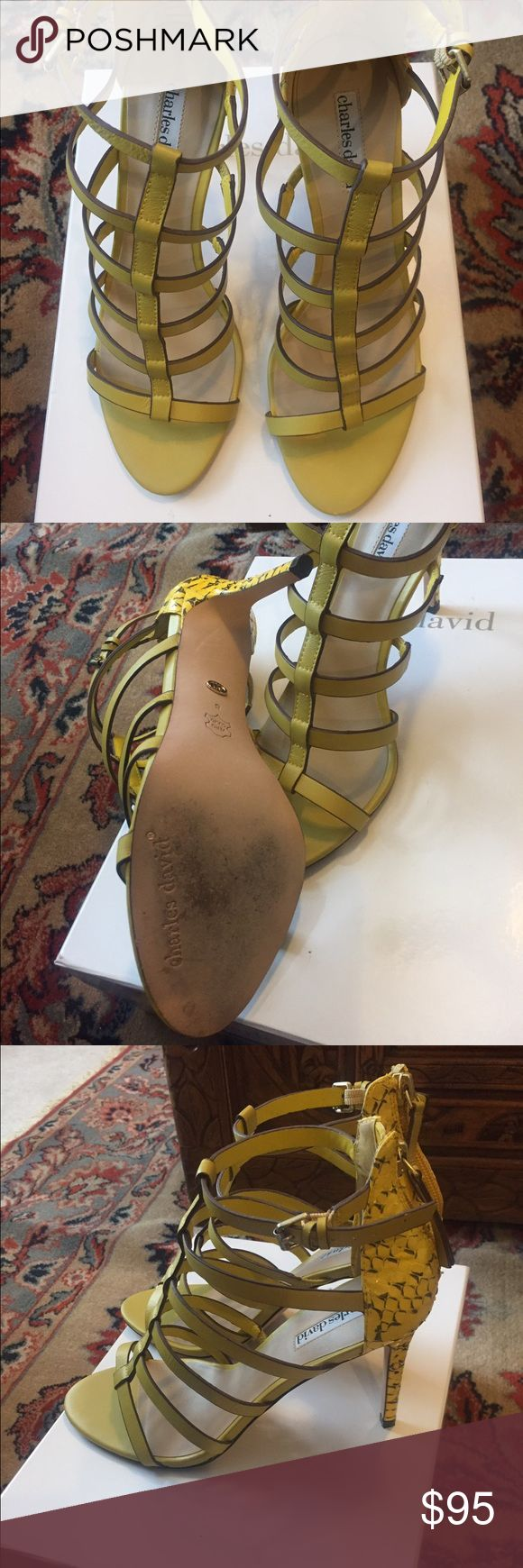"Charles David Yellow Sandal Yellow leather Charles David Cage sandal python print heel back zip 4"" high Size 8m wore once comes in the box Charles David Shoes Sandals"