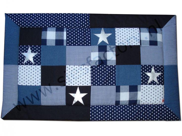 Tweelingen boxkleed  145 x 77 cm in donker blauw , jeans en wit met zilveren sterren