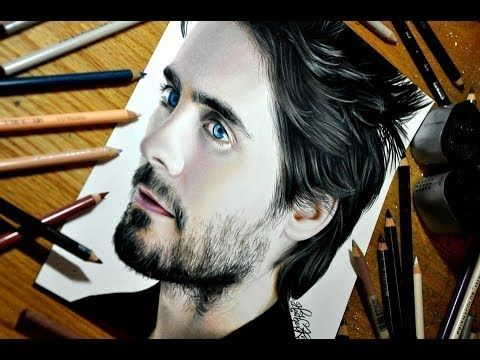 Drawing Jared Leto - Colored Pencil Time-lapse Sketch by Heather Rooney on YouTube