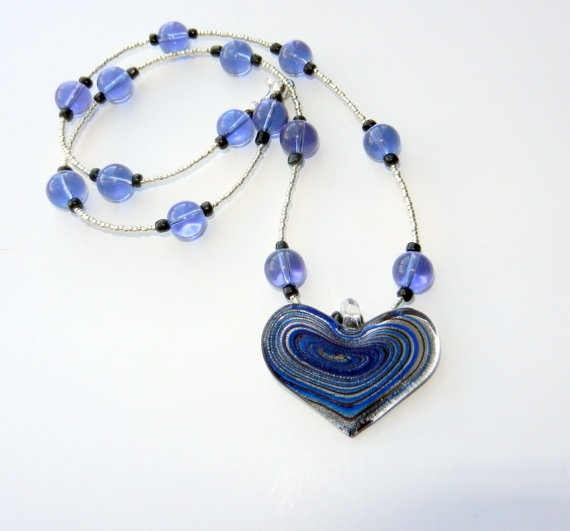 Purple Black and Silver Beaded Heart Charm by CloudNineDesignz, $18.00
