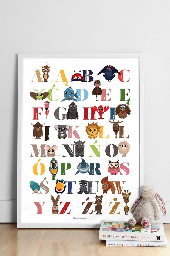 A colorful poster of the Polish ALPHABET WITH FUNNY ANIMALS, 50x70cm .    Large and colorful poster is a great decoration of the childrens room. From an early age
