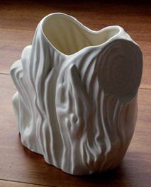 This is a vintage large white Crown Lynn tree trunk vase number 585. Sold for $256 March 2017