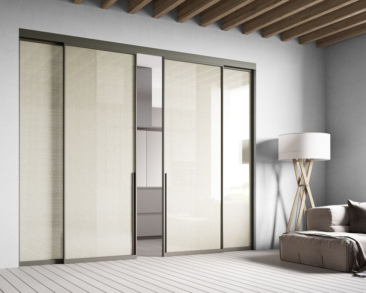 Sistema scorrevole con mantovana in alluminio  Quattro ante, due mobili e due fisse, con profilo in alluminio  Mod.Naturale_Collezione TESSUTI  Sliding system with aluminum cover  Four door panels, two sliding panles and two fixed panels, with pperimetrical aluminum profile Mod.Natural_FABRICS Collection di #MRartdesign