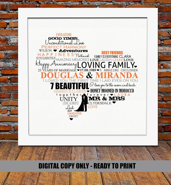 Personalized Silver Anniversary gift - Silver wedding anniversary gift, 25th wedding anniversary gift, 25th anniversary gift, ready to print                                                                                                                                                                                 More
