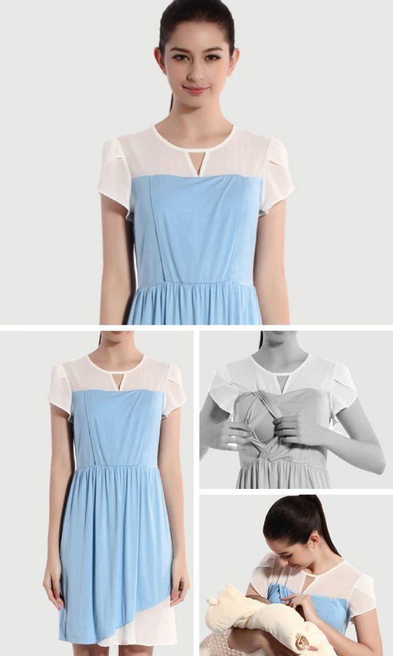 WHITE / BLUE CHIFFON Nursing Dress Blue Nursing Dress by BESLOV #nursingfashion