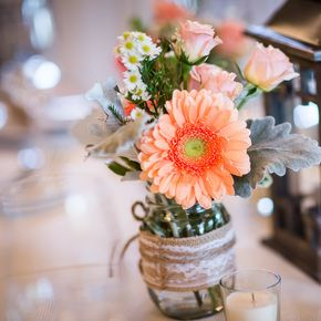 Rustic Gerbera Daisy and Rose Centerpieces