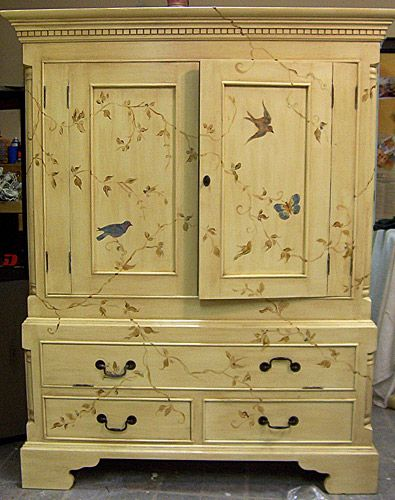 painted dresser ideas | Larger pieces that are tole painted with botanicals, birds, or ...