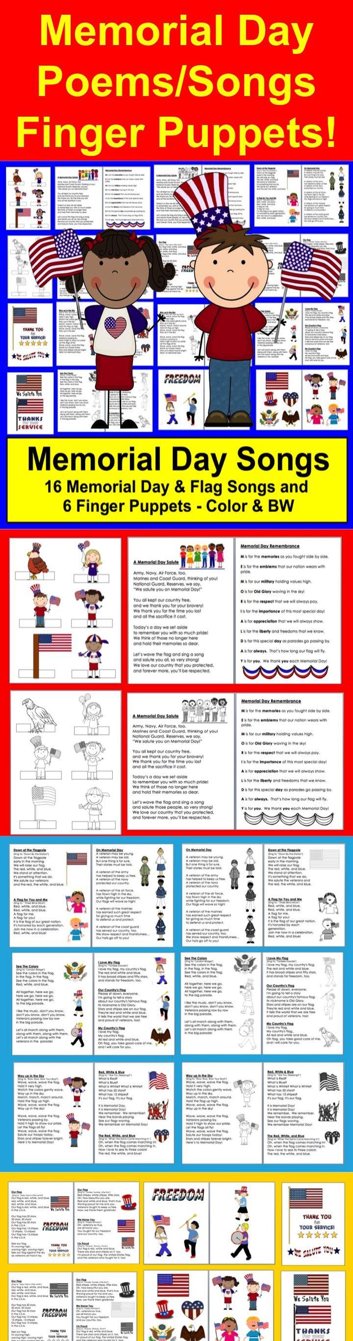 Memorial day poems veterans poems prayers - Memorial Day Poems Songs 16 Poems 6 Finger Puppets Shared Rdg Fluency