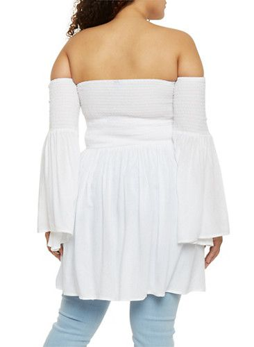 Plus Size Off the Shoulder Smocked Babydoll Top,WHITE