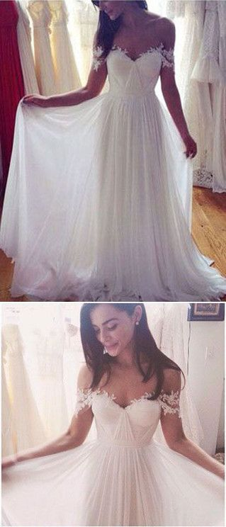 A-line Off-Shoulder Sweep Train Chiffon White Wedding Dresses With Appliques ABC00030 #weddingdresess #bridaldresses #white #weddings #applique