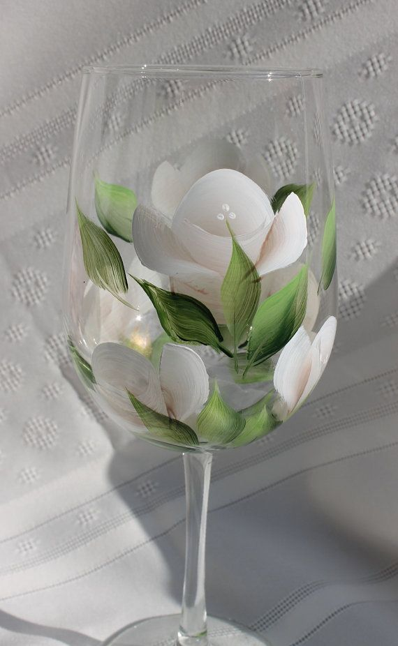 Two elegant hand painted Wine Glasses with delicate white roses in a choice of pale olive, cobalt blue or clear glass. Perfect for weddings