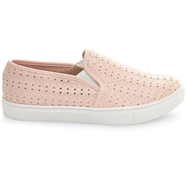 Steve Madden Women's Excel Sneakers ($60) ❤ liked on Polyvore featuring shoes, pink, slip-on sneakers, cut out sneakers, platform slip-on sneakers, pink platform shoes and leopard print slip-on shoes