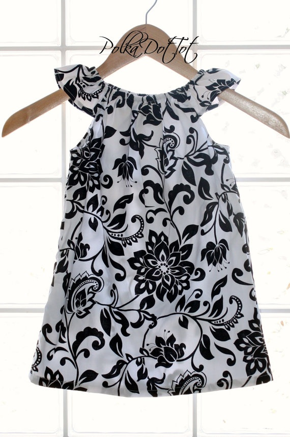 Flutter Sleeve Dress Ready to Ship Childrens Black by PolkaDotTot, $30.00