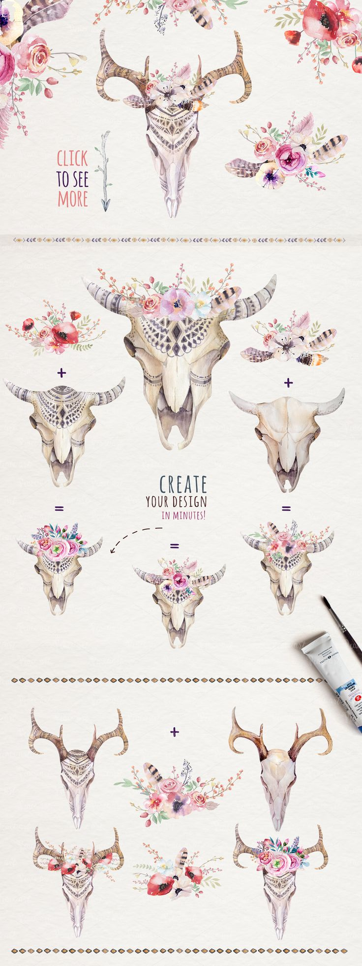 Watercolor boho skulls - Illustrations - 2