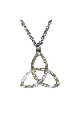 Celtic Knot Pendant in hammered finish silver pewter.