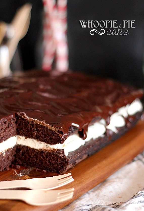 Whoopie Pie Cake | Cookies and Cups ~ Starts with a chocolate cake mix and is filled with delicious marshmallow buttercream filling.  So easy and so good!