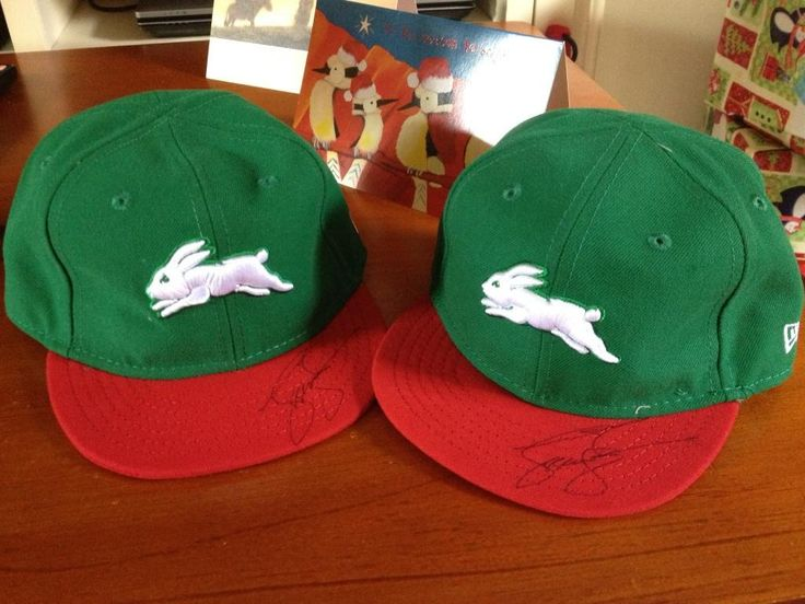 @TerryXanthosTex on twitter bought her twins matching Rabbitohs caps for Christmas