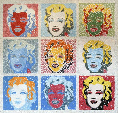 """#finearts, """"(#slowmade) marilyn monroe by a. warhol"""", 06. 1999, #pixelism - ca. 73.000 painted pixels, acrylic on canvas, 139 x 136 cm, ■ = 5 x 5 mm, 54.72"""" x 53.54"""", ■ = 0.20"""" x 0.20""""."""