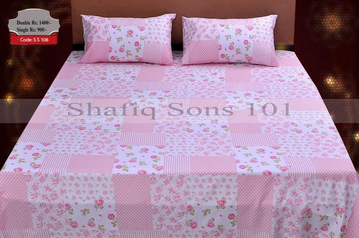 Code: S S 106Pure Cotton Bed SheetsBed Sheet Size 96x100 Inches.Two Pillow  Covers 19x29