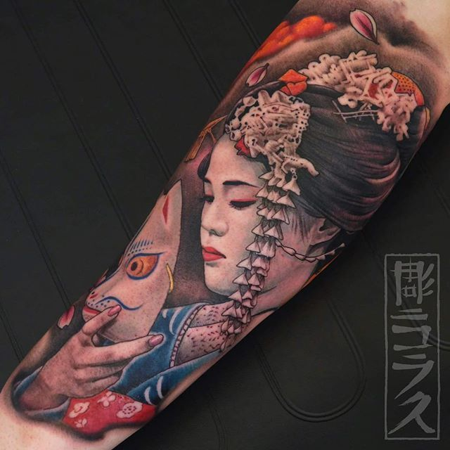 #geisha #maiko for an almost full sleeve. @electricink @aloetattoo @family_art_tattoo #thebesttattooartists #tattooistartmagazine #thebestspaintattooartists #tattoo_art_worldwide #inkedmag #tattoo #ink #inked #tattooed #tatuaje #kitsune @art_collective @illustratedmonthly