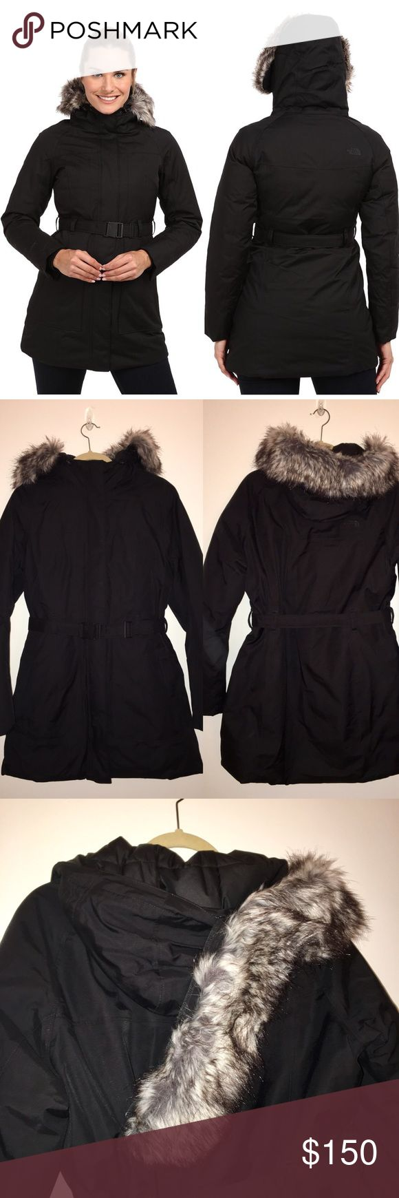 Brooklyn Jacket | The North Face Black Brooklyn Jacket by North Face. Flattering cut with belted waist. Fur-trimmed hood; fur is removable (see pic). Worn 2-3x; excellent condition/like new with no signs of wear. North Face Jackets & Coats