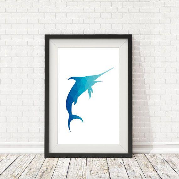 Swordfish poster Swordfish print Swordfish by BatLabPrintables