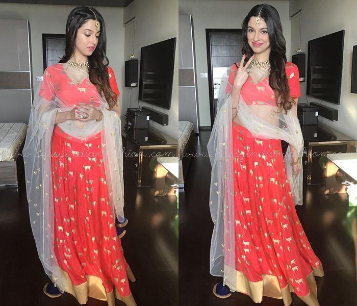 Divya Khosla Kumar Red Skirt and Crop Top for Kaurva Chauth