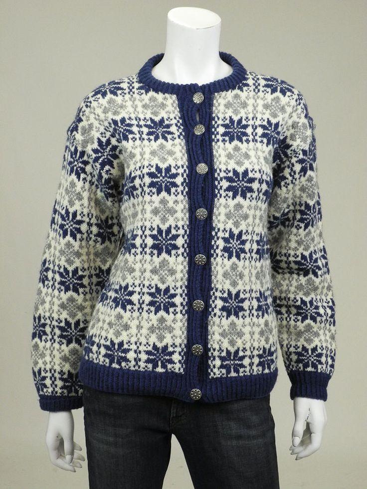 Husfliden Oslo M Womens cardigan sweater blue gray snowflake nordic 100% wool #Husfliden #Cardigan