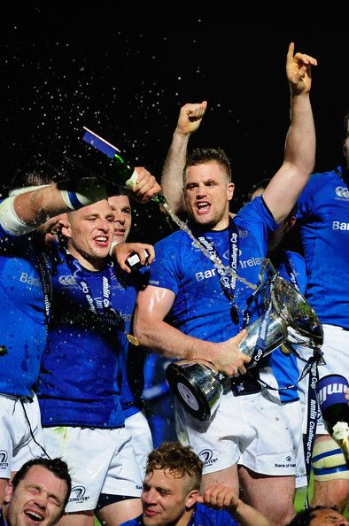 Leinster captain Jamie Heaslip (c) and team mates celebrate after winning the Amlin Challenge Cup Final match between Leinster and Stade Francais Paris at Royal Dublin Society on May 17, 2013 in Dublin, Ireland.