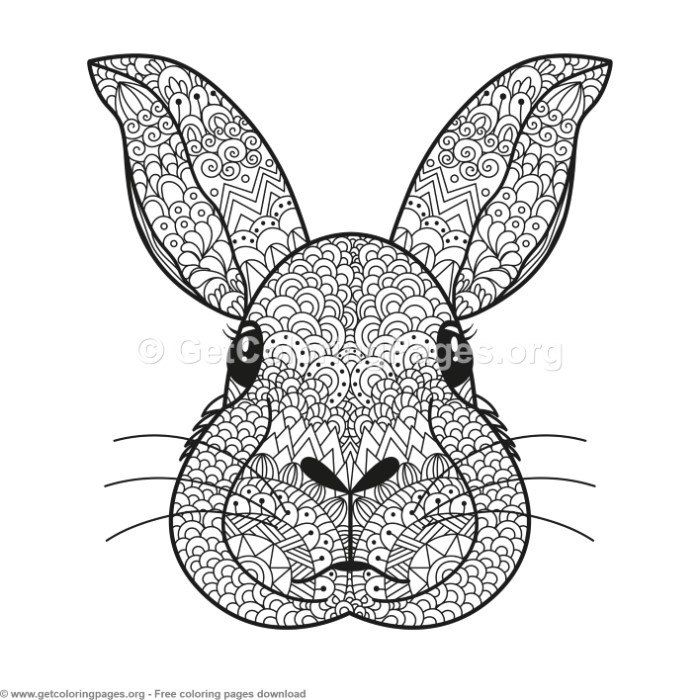 Zentangle Rabbit Pattern Coloring Pages Getcoloringpages Org