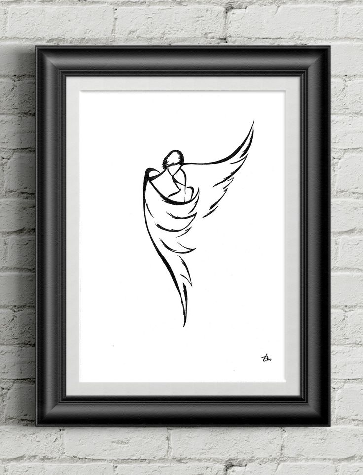 """Angel"" by Tayana Markovtsev 2013 18"" x 24"" India Ink on Cold Press Paper 1/1  #line #minimalism #drawing #artwork #original"