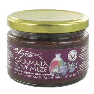 Kalamata Olive Meze with Capers garlic and extra virgin olive oil - delicious on ciabatta - or if you're really hungry just dip  into the jar with a bread stick!